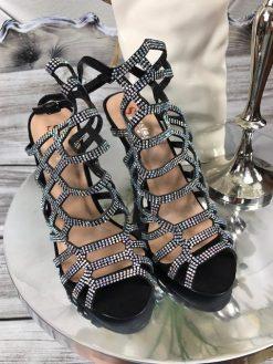 Elegantné sandále s flitrami - čierne