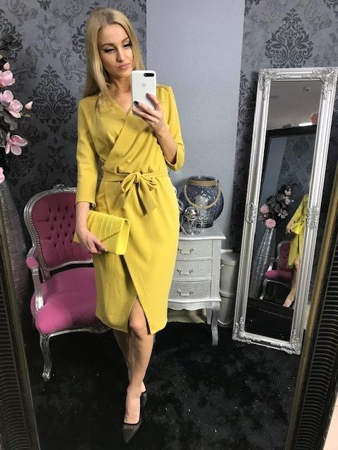 21655ac689372 Štýlové Midi zavinovacie šaty s uväzovaním do veľkosti 50 ...