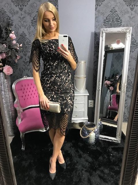 e4bee26d0 Elegantné Midi čipkové šaty s čipkovým rukávom – čierne/béžové ...