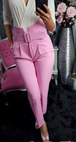 e8d20251b4df Dámske elegantné nohavice s vysokým pásom a opaskom – svetloružové