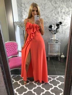 f83856639 Dlhé elegantné spoločenské šaty s ozdobným volánikom a rázporkom – oranžové