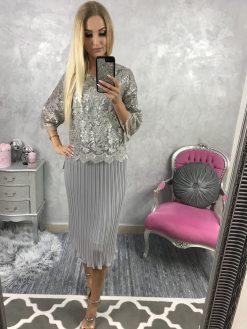 Elegantné Midi šaty s plisovanou sukňou a s čipkovou vrchnou časťou