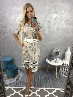 Spoločenské puzdrové šaty s opaskom a potlačou kvetín - béžové