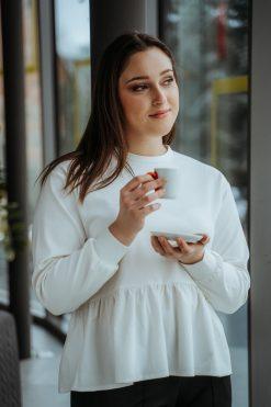 Bavlnené tričko/mikina s ozdobným volánom