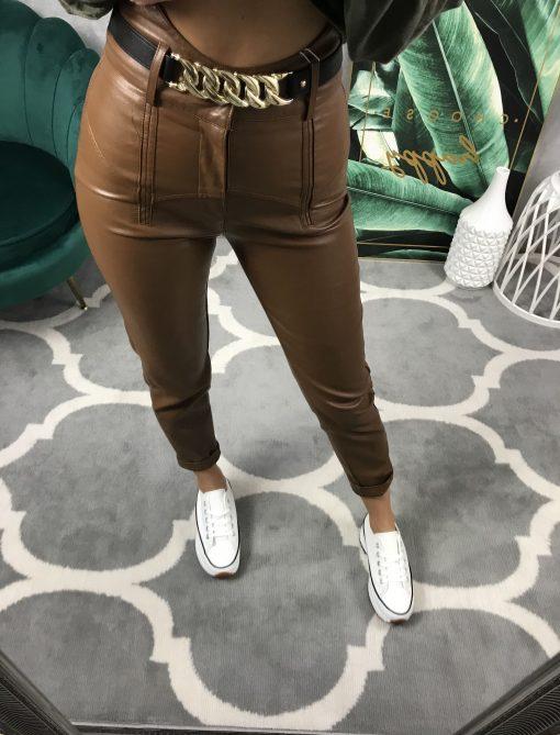 koženkové nohavice hnedé
