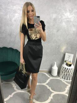 Krátka koženková sukňa