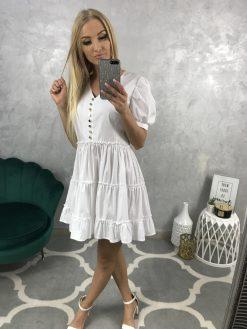 Krásne letné biele šatky s riasenou sukničkou