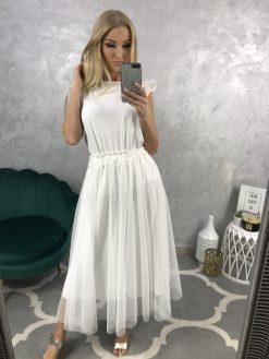 Midi tylová sukňa