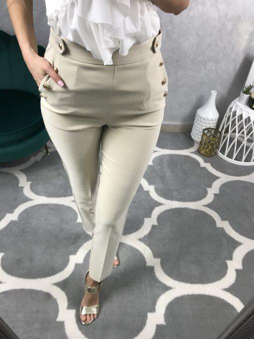 Hladké cigaretové nohavice s pukmi a zlatými gombíkmi / béžové