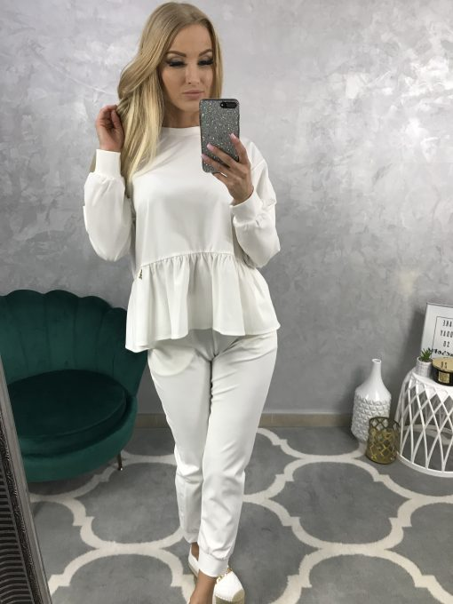 Bavlnený teplákový komplet - tričko, nohavice / biely