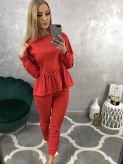 Bavlnený teplákový komplet - tričko, nohavice / červený