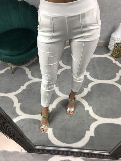 Biele koženkové nohavice