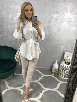 Predĺžená košeľa s opaskom - biela