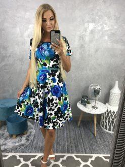 Farebné kvietkované šaty s áčkovou sukňou a opaskom