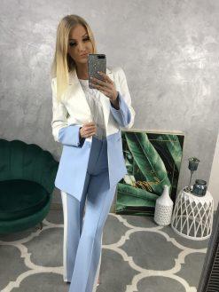 Dlhšie dvojfarebné kostýmové sako s fazónou a rozšírenými rukávmi