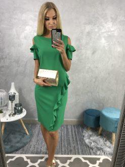 Puzdrové zelené šaty s odhalenými ramenami a volánikmi