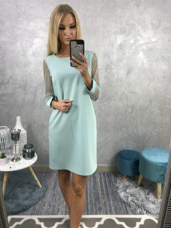 Mentolové šaty s dlhými tylovými rukávmi