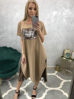 Dlhé tričkové šaty / tunika s tigrím motívom na prednom diely - hnedé
