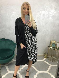 Mikinové dlhé šaty - čiernobiele s kapucňou a písmenkovou potlačou