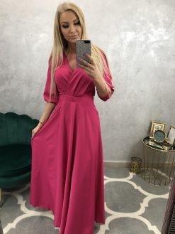 Dlhé spoločenské šaty s 3/4 rukávmi a rázporkom
