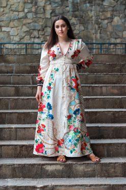Košeľové dlhé šatky s ozdobnými gombíkmi a kvetinkovou potlačou
