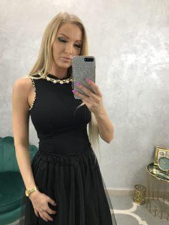 Krátky bavlnený top/tielko s ozdobnými perličkami okolo krku
