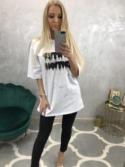 Dlhšie oversize bavlnené tričko s aplikáciou