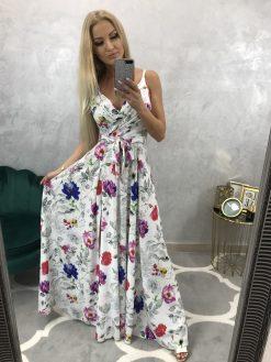 Dlhé elegantné kvetinové spoločenské šaty s rázporkom