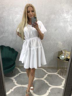 Biele voľné šatky s riasením