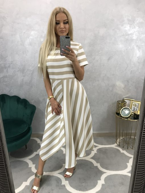 Krásne, pohodlné biele šatky s béžovými pásikmi a asymetrickou sukničkou