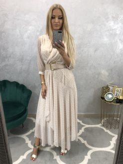 Dlhé asymetrické šifónové bodkované šaty s opaskom
