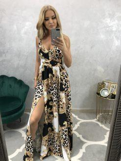 Nádherné dlhé šaty na ramienka, dlhá riasená suknička s rázporkom
