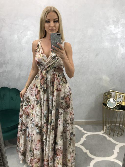 Dlhé kvetinové spoločenské šaty s prekríženými ramienkami