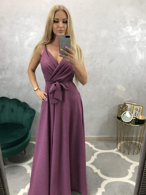 Dlhé elegantné trblietavé spoločenské šaty s rázporkom
