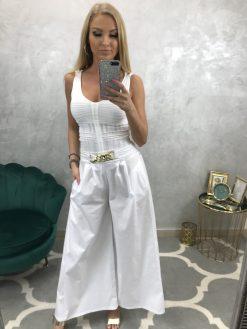 Biele široké nohavice so zlatou prackou
