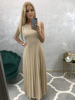 Dlhé svetlo hnedé šatky so zlatými trblietkami, plisovaná sukňa