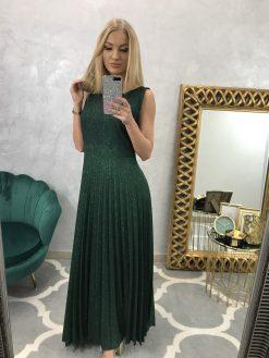Dlhé zelené šatky s trblietkami, plisovaná sukňa