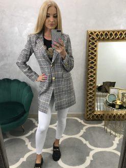 Predĺžené kárované sako/kabátik - sivo, bielo, ružový