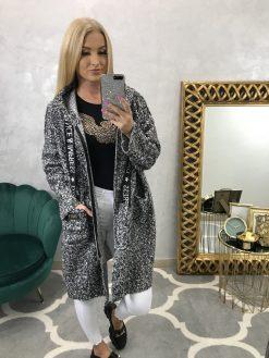 Rovný jesenný oversize kabátik so zipsom a kapucňou
