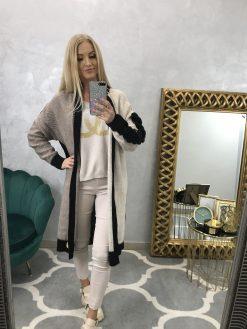 Dlhý pletený kardigán/sveter