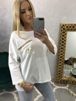 Biele oversize tričko s 3/4 rukávom a vreckom