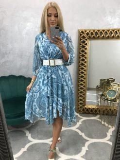 Midi asymetrické šifónové šaty s koženkovým opaskom