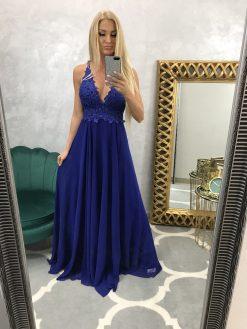 Nádherné kráľovský modré šaty na ramienka s čipkou