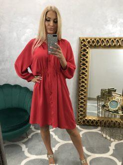 Oversize košeľové šatky s dlhými rukávmi - červené
