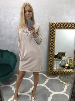 Béžové teplákové šaty s kamienkovým vzorom