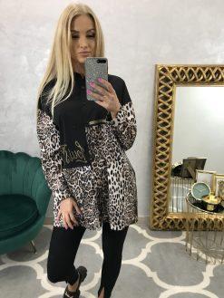 Predĺžená čierna košieľka LV s leopardím vzorom